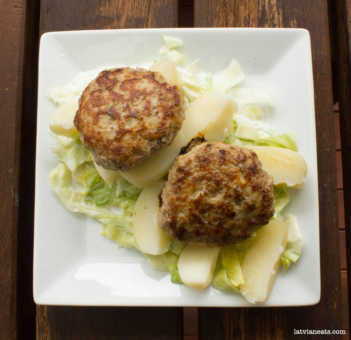 Latvian Meatballs (kotletes) and green salad