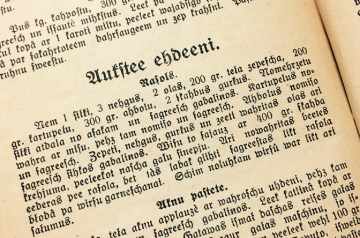 Picture of recipe in an old Latvian cookbook