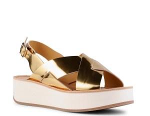 sandale semelle blanche dorée compensées minelli
