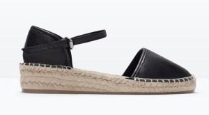 sandales espadrilles cuir noir semelle corde zara