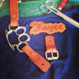 tablier personnalisé jean et cuir mbyt