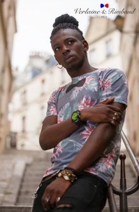 tee-shirt homme fleurs noeud bio verlaine et rimbaud