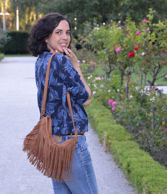 look blogueuse mode sac pimkie franges top seventies h&m