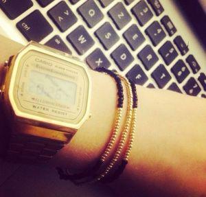 jonc bracelet rocaille doré noir les petites garçonnes création bijoux