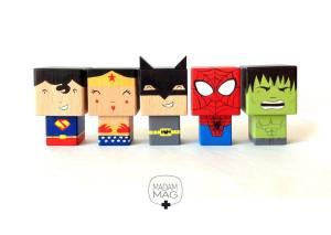 poupées bois cubes super héros madammag créatrice