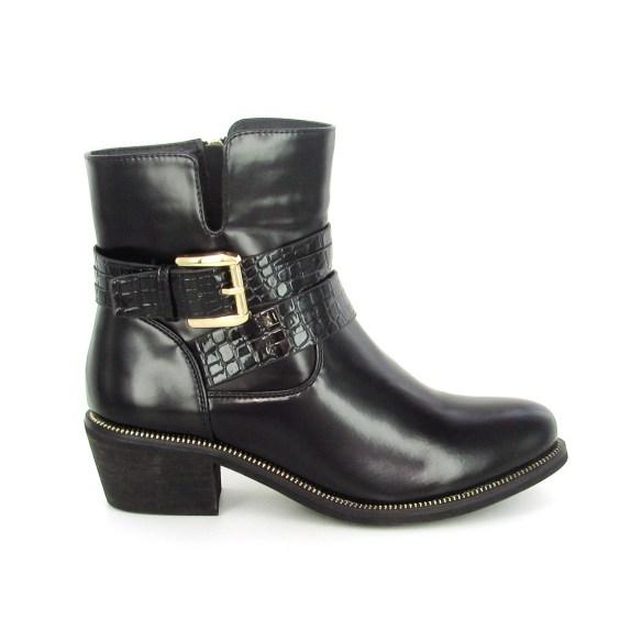 bottine croco noires dorées éclipse chaussures