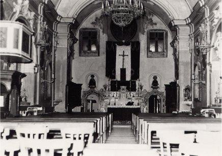 Interno della chiesa del convento negli anni 60