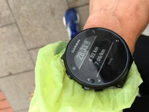 Laufuhr zeigt 4 Kilometer