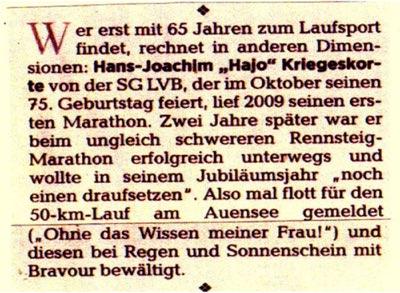 Hajo 100km Bericht Zeitung