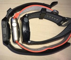 Abmessungen im Vergleich: links - Fitbit Blaze; mitte - Apple Watch Series 2; rechts - Garmin Forerunner 735XT