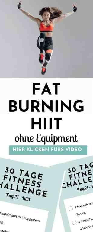 Hochintensives #Intervalltraining für #Anfänger - dieses #fatburning und #calorieburning #hiit ist perfekt für zuhause und kommt ganz ohne geräte und hilfsmittel aus. #fitnesschallenge #homeworkout