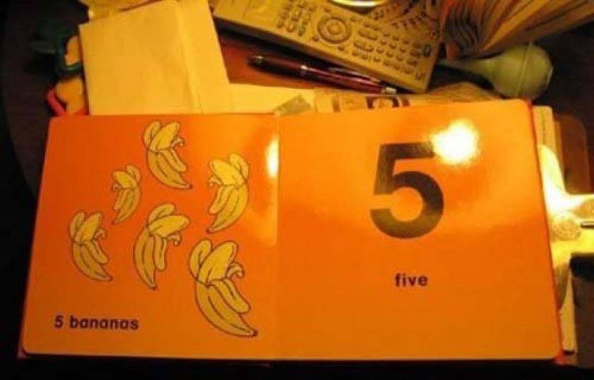 There are only five bananas on the page