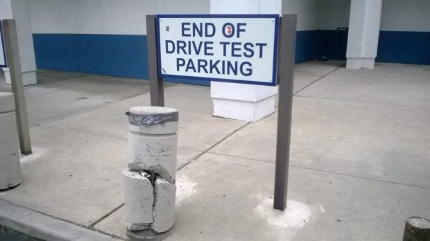 Someone failed at the end of his driving test