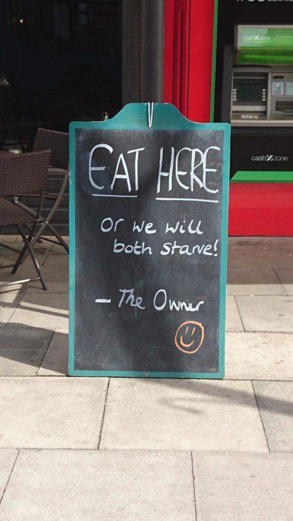 Funny restaurant billboard