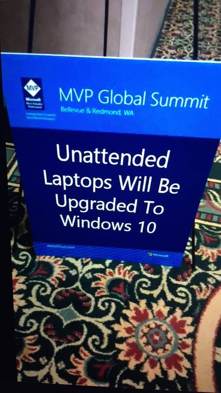 Unattended laptops will be upgraded to Windows 10