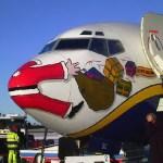 Santa hits by plane