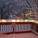 Christmas lights encased in snow