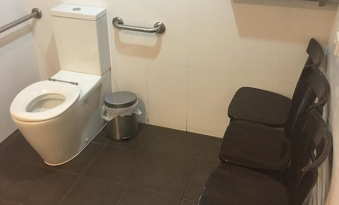 Restroom with extra seats