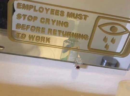 Employees must stop crying before returning to work