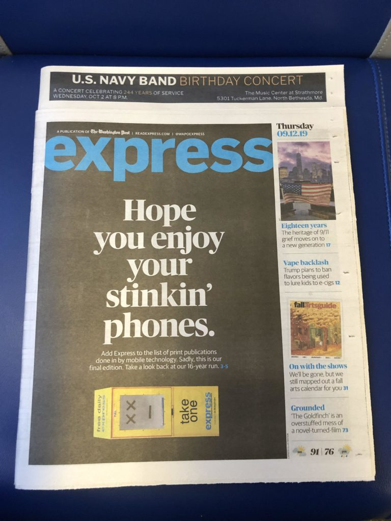 Last Issue of Washington Post Express
