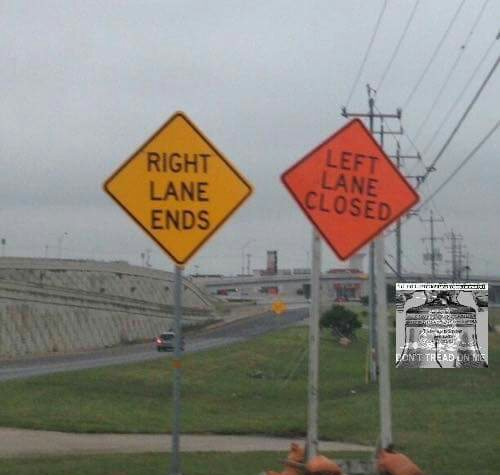 Right Lane Ends Left Lane Closed