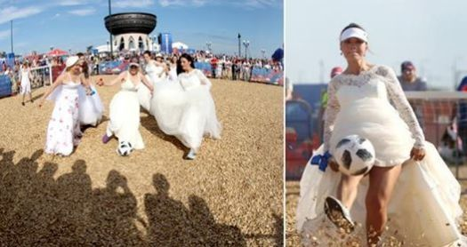 World Cup 2018: Russian Women Dress Up As Brides And Play Football In Russia To Promote It