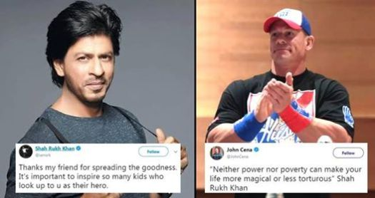Wrestler John Cena Again Shares A Quote By SRK and SRK Thanks Him For Spreading The Message