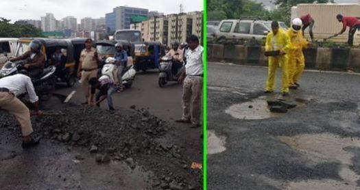 Selfless Mumbai Police Fills Pot Holes On A Rainy Day In Mumbai As Authorities Fail To Do Their Duty