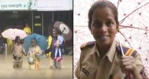 A Lady Cop Rescued Locals Who Were Stuck In Waist Deep Waters During Heavy Rains