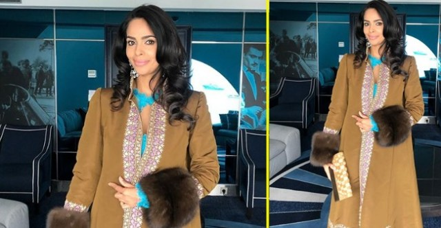 Cannes International Film Festival 2019: Mallika Sherawat in Tan Jacket and Lacy Blue Gown