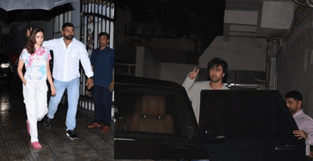Alia and Ranbir Kapoor Spotted Heading to Work on a Rainy Day