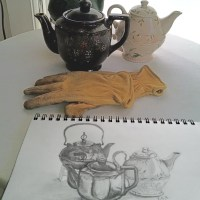 Drawing Challenge Day 5, Teapots and Garden Gloves