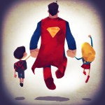 Super Families, Cute Illustrations of Comic Book Superhero Families