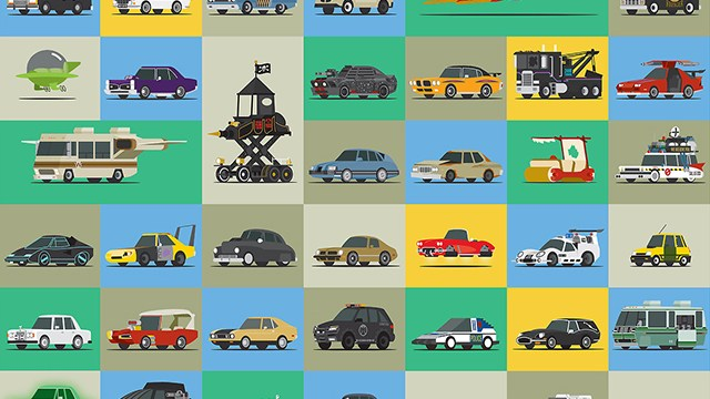 Star Cars Illustrated Versions Of Famous Vehicles From Tv Movies