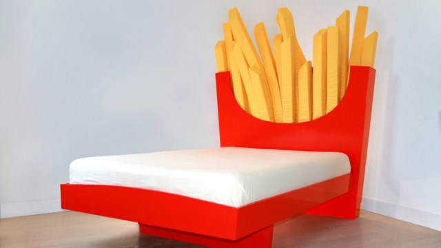 Supersize Bed A With Headboard Shaped Like Carton Of French Fries