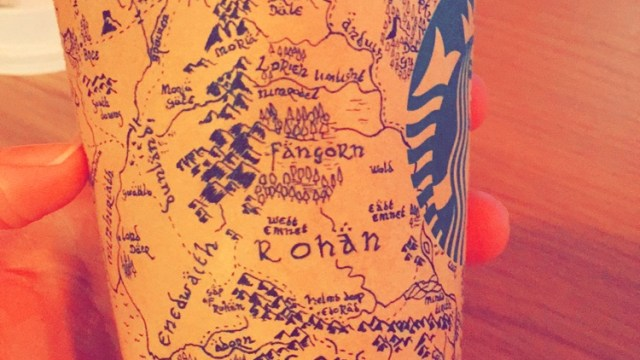 starbucks customer draws a detailed map of middle earth from the lord of the