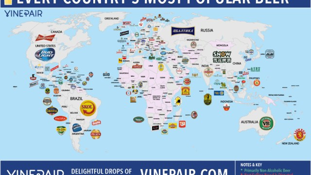 a colorful map plotting the most popular beers enjoyed in over 100 countries worldwide