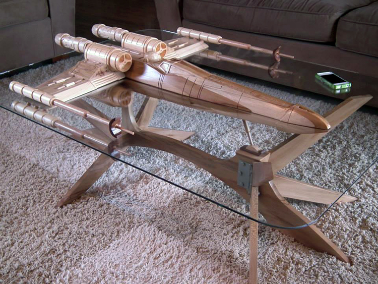 Custom Office and Coffee Tables Handmade From the Wings of Airplanes