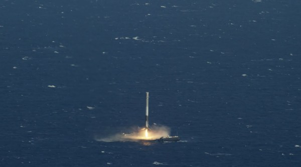 SpaceX Falcon 9 Rocket Makes Historic Landing on a Drone Ship in the Atlantic Ocean