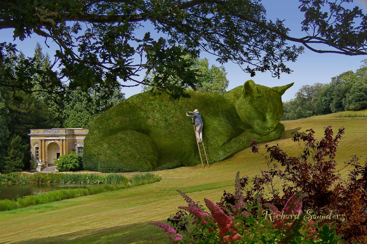 Artist Memorializes His Beloved Cat As A Giant Virtual Topiary Who Adorns  Lavish Gardens