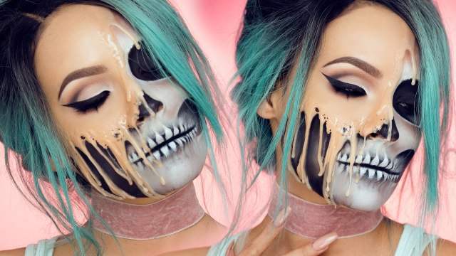 Halloween Makeup Artist | Masterful Makeup Artist Draws Second Set Of Features Onto Her Face