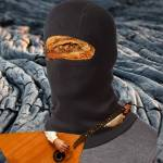 Baklava Wearing a Balaclava While Playing a Balalaika on Black Lava