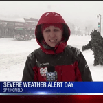 A Sasquatch Covered in Marijuana Leaves Crashes a Live News Report During a Snow Storm