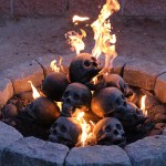 Creepy Fireproof Human Skull Logs That Can Be Used in Your Gas Fireplace or Fire Pit
