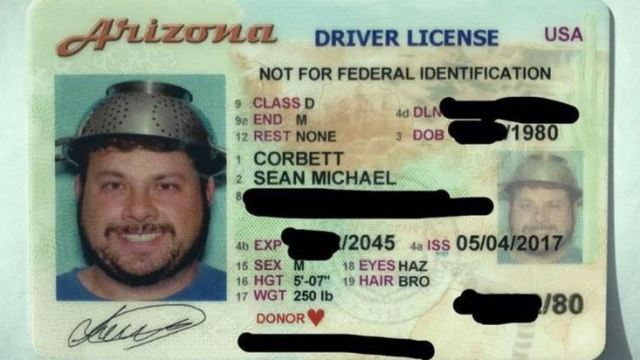b90831ef6617f Dedicated Pastafarian Photographed With Colander on His Head for His  Arizona Driver License