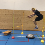 Olympic Skier Shows Off His Balanced Focused Parkour Skills While Training on an Obstacle Course