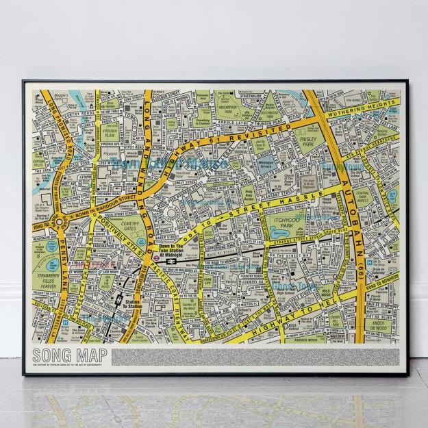 song-map-in-frame Song Map, An Updated Street Map of London With All the Roads Reimagined With Song Titles Random