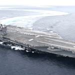 USS Abraham Lincoln Aircraft Carrier Making High Speed Turns and Drifting in the Atlantic Ocean