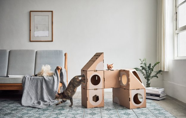 a_cat_thing_01 Wonderfully Modular, Interchangeable Cardboard Cat Dwellings Designed by Taiwanese Architects Random