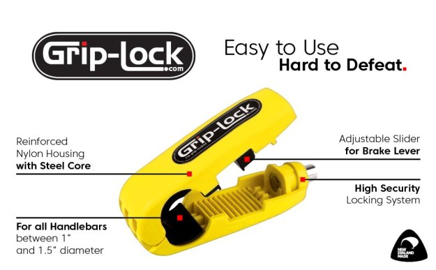 grip-lock A Cleverly Designed Motorcycle Handlebar Lock That Immobilizes the Throttle Grip and Brake Lever Random